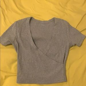 Gray ribbed wrap crop top, size small